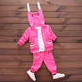 No Shoes (4 sets/lot) New 2017 Children's Clothing Cat Outerwear & Polka Dot T-shirt & Bottoms 3 Pcs Girls Clothing Sets 010334