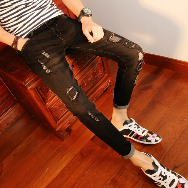 95dbc05598d New arrival Spring autumn youth Ripped hole Skinny jeans men street wear  stretch feet men students teenagers Ankle pencil pants