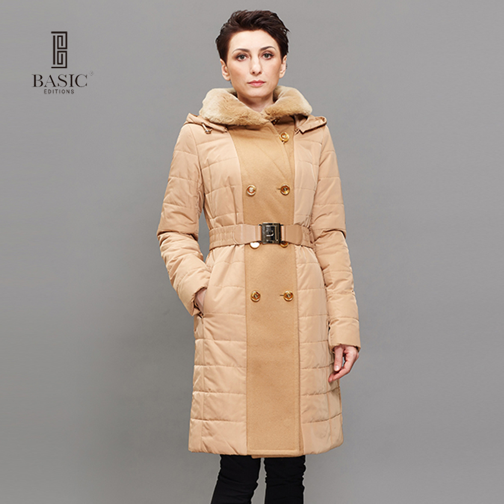 BASIC EDITIONS Women Winter Jackets And Coats Fashion Casual Thinsulate Rex Rabbit Collar Long Parka Women Jackets 12F-C063-1