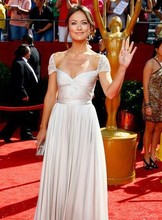2018 Hot Selling Olivia Wilde Emmy Chiffon Sweetheart Beaded Short Sleeves Evening prom gown Long mother of the bride dresses
