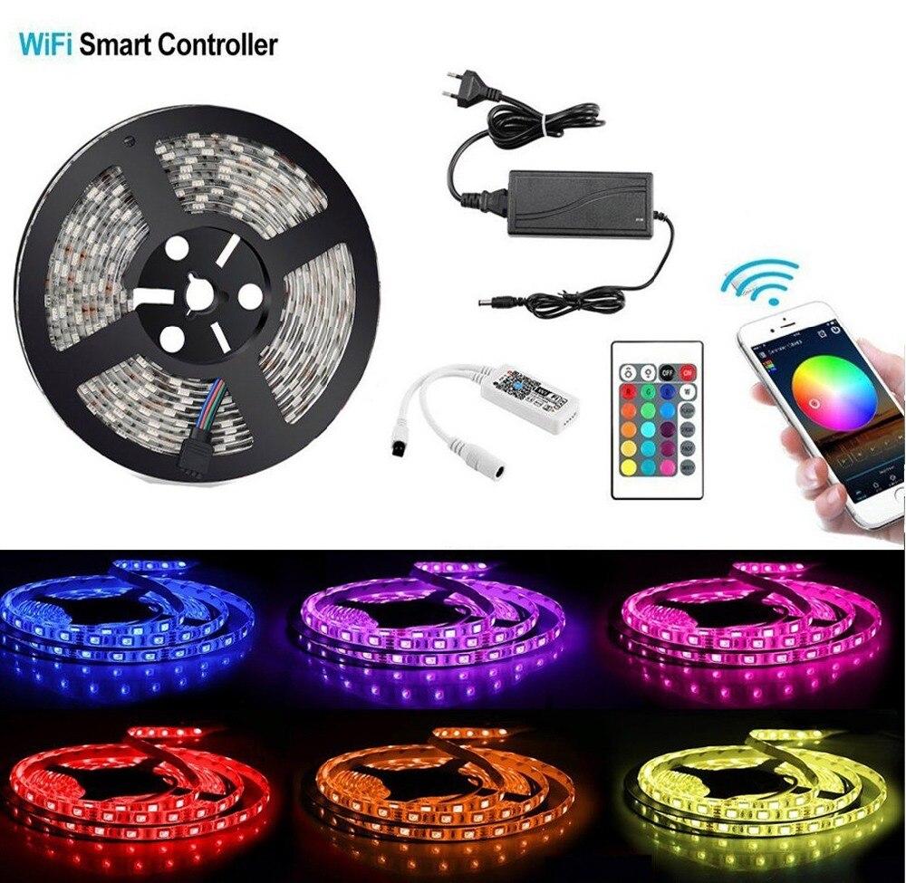 5 M/roll 300 LED SMD 5050 bande flexible lumineuse LED imperméable 5 M 5050SMD RGB LED bande + contrôleur Wifi RGB + adaptateur secteur
