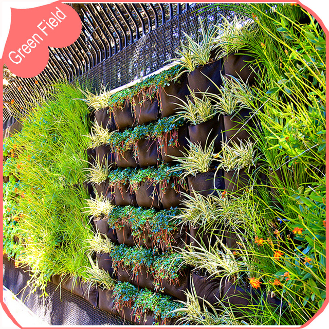 Horizontal Pocket Decoration Wall Garden Planter Planting Bag Vertical  Garden Design Green Garden Walls Pot Grow