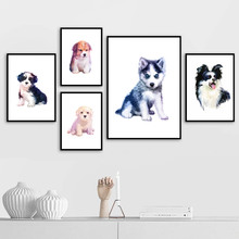 Watercolor Baby Dog Animals Wall Art Canvas Painting Nordic Posters And Prints Pictures For Living Room Kids Bedroom Decor