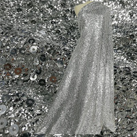Silver sequins fabric Lace French fashion show decoration lace fabric