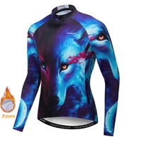 3D Wolf Tiger Lion Winter Cycling Jersey Men Long Sleeve Bike Bicycle Shirt Thermal Fleece Roupa Ciclismo Mtb Racing Clothing