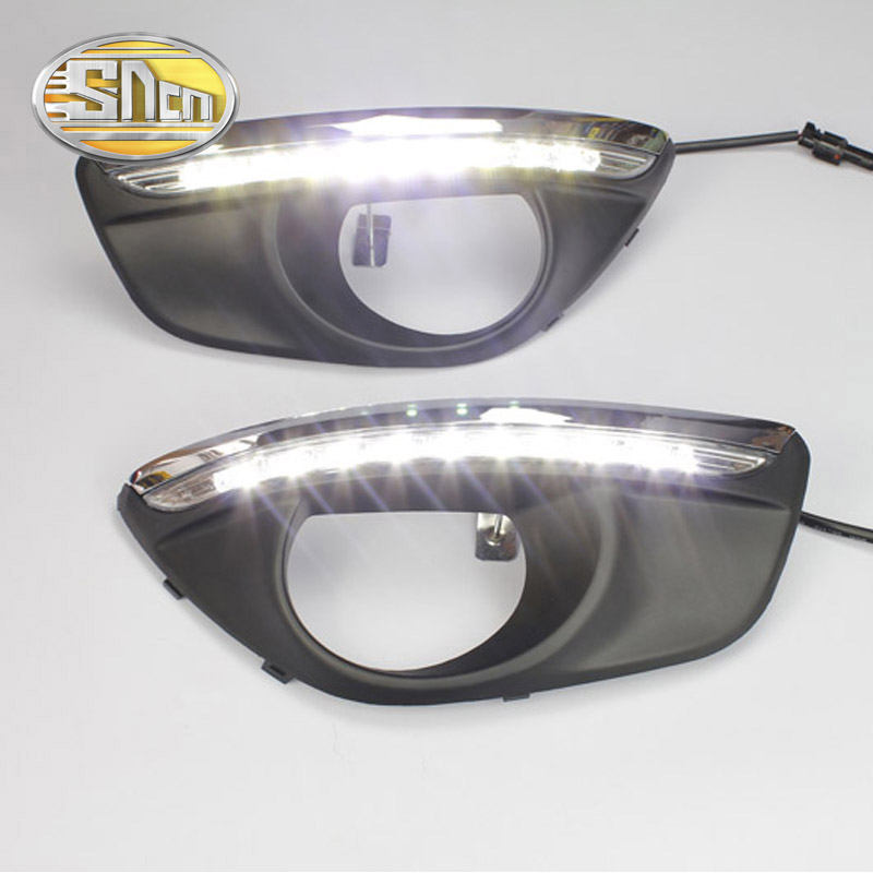SNCN With Auto Dimming Function Car Accessories ABS LED Daytime Running Light DRL Lamp For Hyundai Santa Fe 2010 2011 2012 accessories for volkswagen tiguan 2010 2011 2012 led daytime running light led car drl fog lamp 2pcs with voltage controller