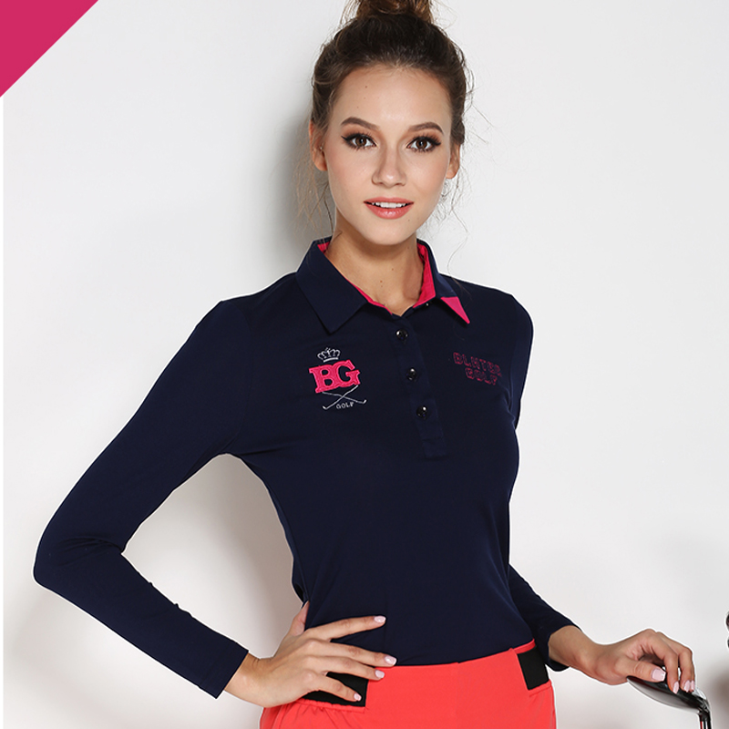 ФОТО 2016 lady golf clothes women's autumn long-sleeve brand T shirt women's golf tops basic shirt sports white navy red golf shirts