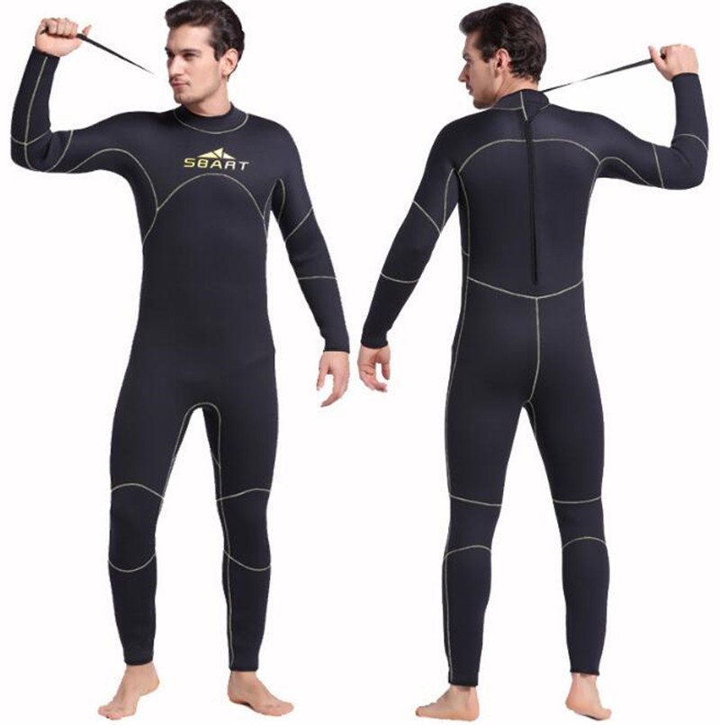 SBART 5MM Neoprene Men Diving Wetsuit Professional Sunscreen Surfing Wetsuits Warm Winter Long Sleeve Swimsuit Spearfishing Body in Wetsuit from Sports Entertainment