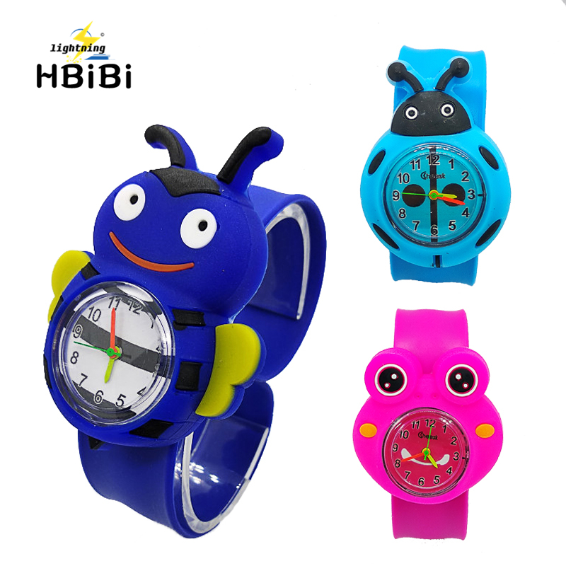 Fashion 3 Mixed Style Cartoon Bee Frog Watch Children Kids Watches Slap Silicone Quartz WristWatch For Boys Girls Gift Hot Sale
