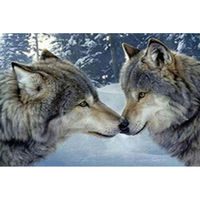 Icon Diamond Embroidery Wolf Kiss Diamond Painting 5d Diy Cross Stitch Animal Series Rhinestone Square Diamond