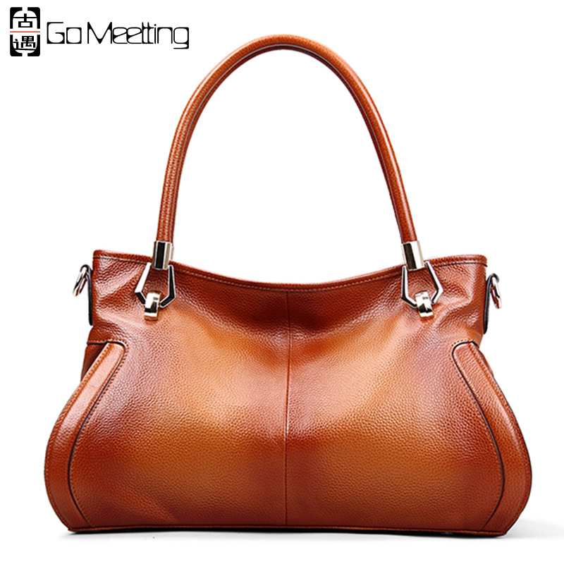 Go Meetting Brand Genuine Leather Women's Handbags High Quality Cowhide Women Shoulder Bag Vintage Crossbody Messenger Bags WS62 high quality genuine leather women handbags fashion cowhide womens messenger bag women s shoulder bags tassel bag crossbody bags