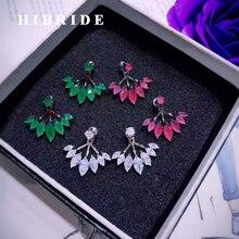 Hybrid marca wihte rhinestone verde y rojo CZ piedra Pendientes de broche para las mujeres de moda femenina calidad pendiente brincos e-443