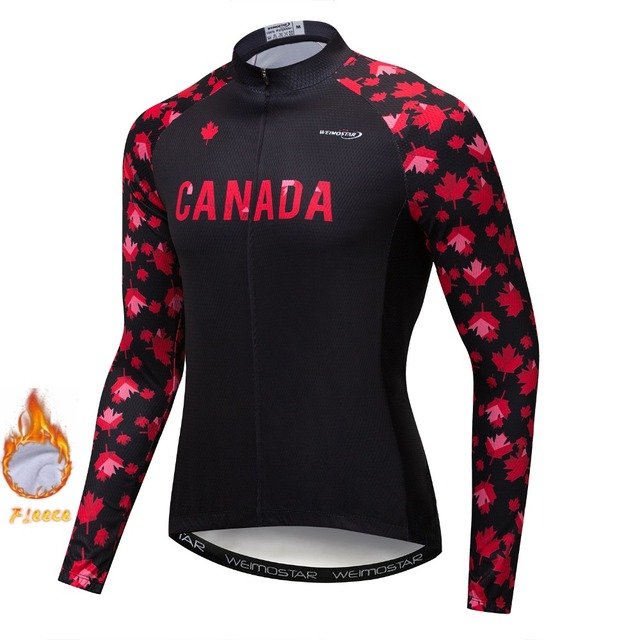 USA Winter Thermal Fleece Cycling Jersey Clothing Men Mtb Bike Shirt Bicycle  Canada Long Sleeve Top Sport Maillot Ropa Ciclismo e192fc385