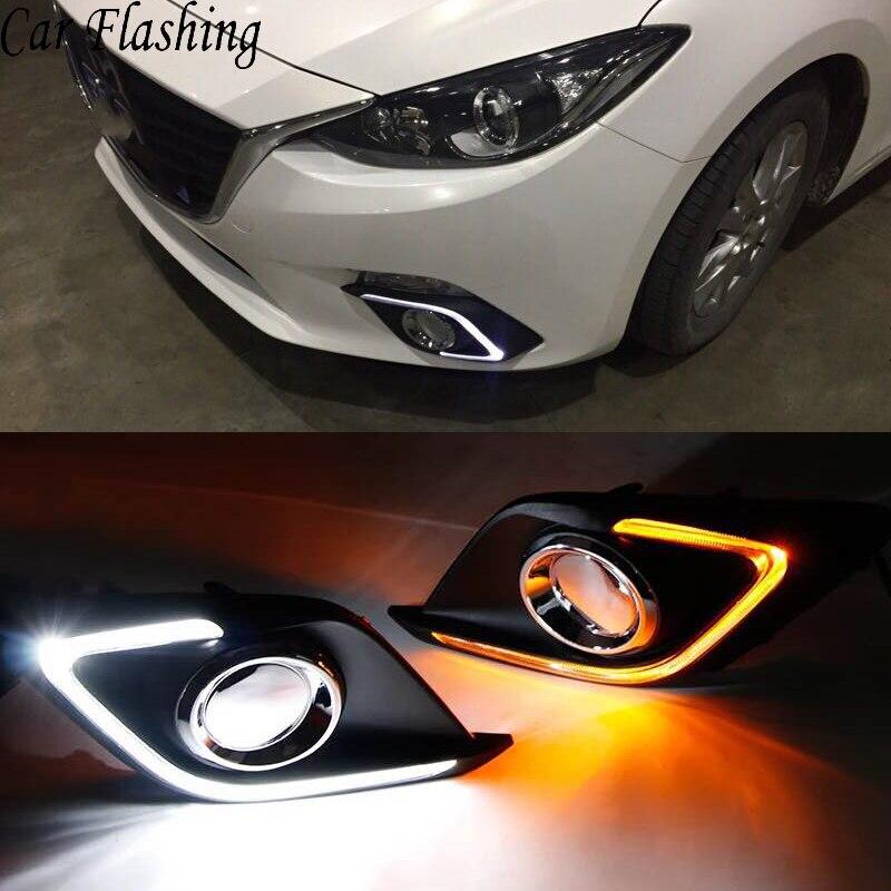 Car Flashing 2 Pcs DRL For Mazda 3 Mazda3 Axela 2014 2015 2016 LED DRL Daytime