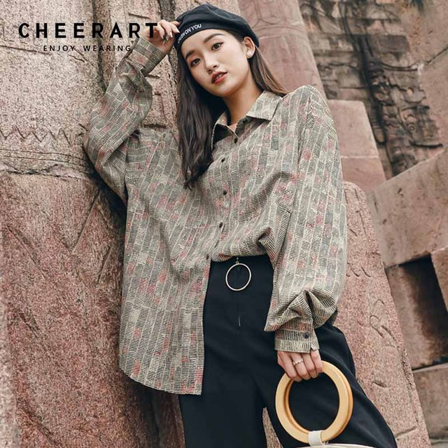 7d417e049d0190 Cheerart Vintage Blouse Women Newspaper Print Shirt Long Sleeve Blouse Tops  Femme Designer 2018 Autumn Women