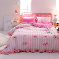 2018 New Fleece Fabric Pleated Lace Luxury Bedding set King Queen size Bedding set Duvet Cover Bedsheet Pillowcase 4pcs