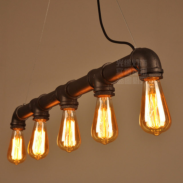 Pipe Pendant Lights Lightings 5 Arms Home Bar Cafe Decorative Lighting Fixture Lamp Black Rustic