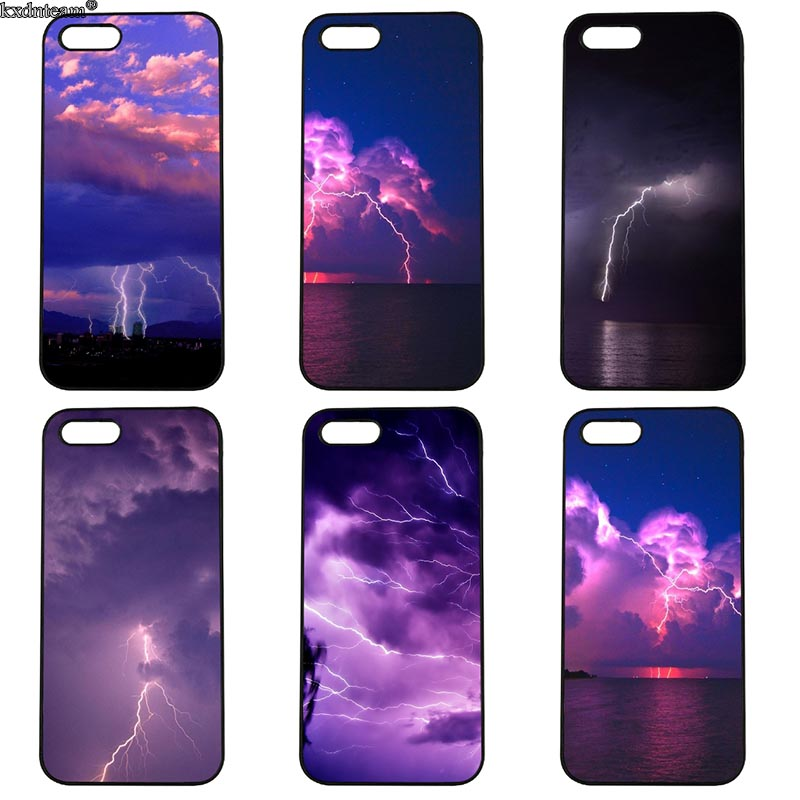 Beautiful Spectacular Lightning Mobile Phone Case Hard Cover Fitted for iphone 8 7 6 6S Plus X 5S 5C 5 SE 4 4S iPod Touch 4 5 6