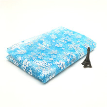 1m/lot Width 150cm Princess Dress Glitter Fabric Blue Snowflake Organza Sewing DIY Skirt Handmade Material Decor