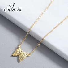 Todorova Hot Sale Guardian Angel Wings Pendant Necklace Feather Clavicle Chains Statement Necklaces for Women Jewelry
