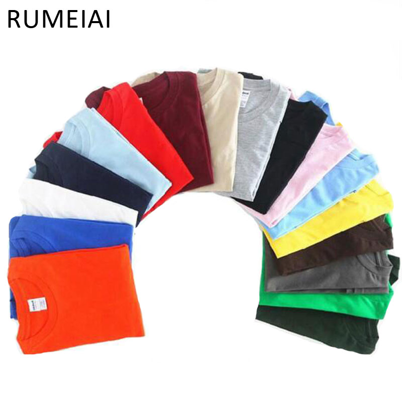 RUMEIAI New Solid color T Shirt Mens Black And White 100% cotton T-shirts Summer Skateboard Tee Boy Hip hop Skate Tshirt Tops