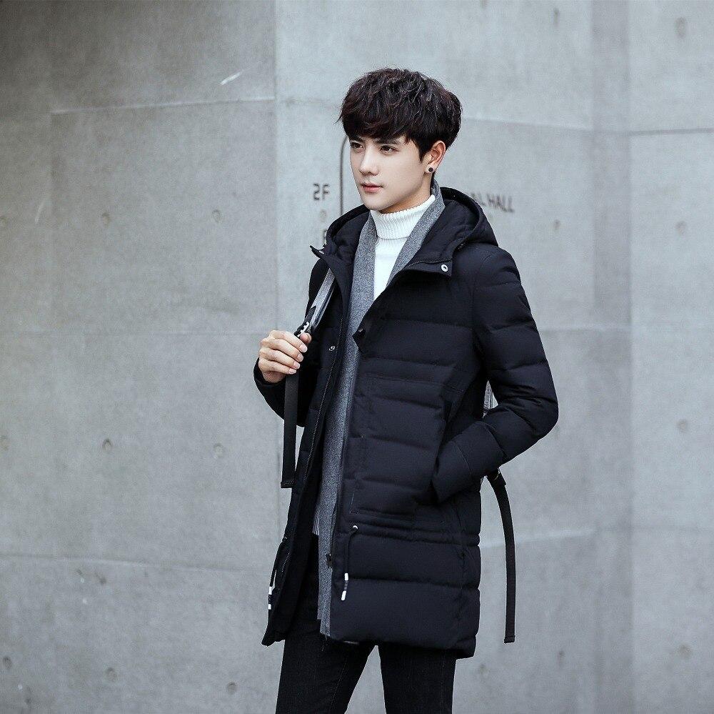 Полный молодой Мужская зимняя куртка пуховик повседневные корейские с капюшоном длинная теплая белая утка вниз заполнены мужские зимние п