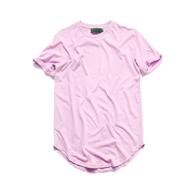 Hip Hop Tshirt Men Urban Extended Curved Hem T shirt Plain ...
