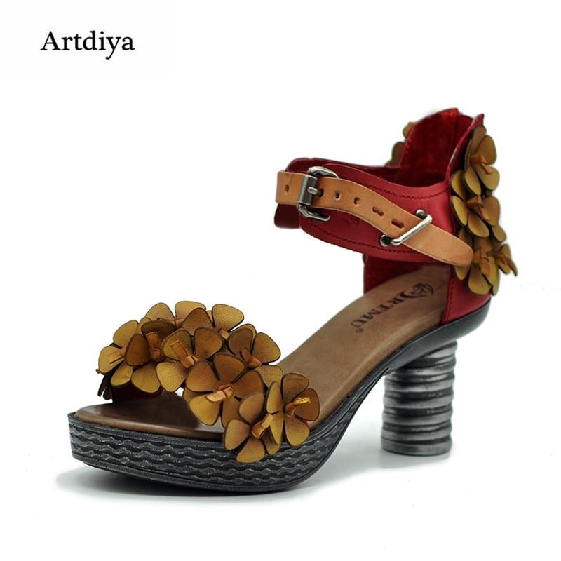 Artdiya Original Summer New Retro Flowers Women Sandals Sheepskin Platform High Heels Handmade Leather Sandals 366-9