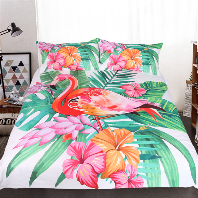 Custom Made Flamingo Bedding Set Tropical Plant Quilt Cover King Size Home Bed Set Flower Print Pink and Green Bedclothes 3Pcs