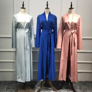 1fa4d7d5c Musulmán abaya abierta rebordear vestido cardigan túnica larga túnica  vestidos kimono jubah Ramadán árabe turco thobe islámica ropa de oración