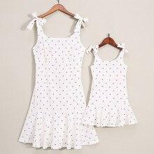 Ppxx família combinando roupas mãe filha vestido polk dot mãe menina crianças família combinar roupa do bebê vestidos da menina
