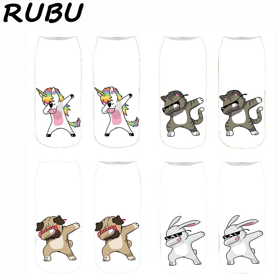 RUBU 3D Printing Women Low Ankle Socks Cotton Fashion Unisex Cute Socks Women Unicorn Meias Female Sock Sale 5D3