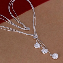 Silver plated exquisite noble luxury gorgeous fashion charms flower wedding women Rose Necklace 18 inches Silver jewelry N049