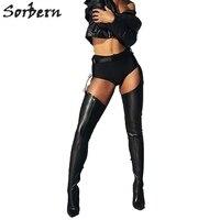Sorbern/черные женские Сапоги выше колена с поясом на высоком каблуке для женщин s Botines Mujer 2019 высокие сапоги с поясом Bottines Femm