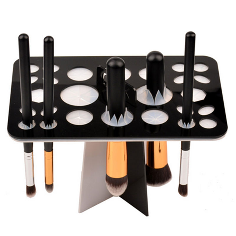 26 Holes Acrylic Makeup Brush Holder Cosmetic Eye Shadow Brushes Organizer Make Up Brush Drying Rack Tool easy install brush drying rack tree for different standard holes random color