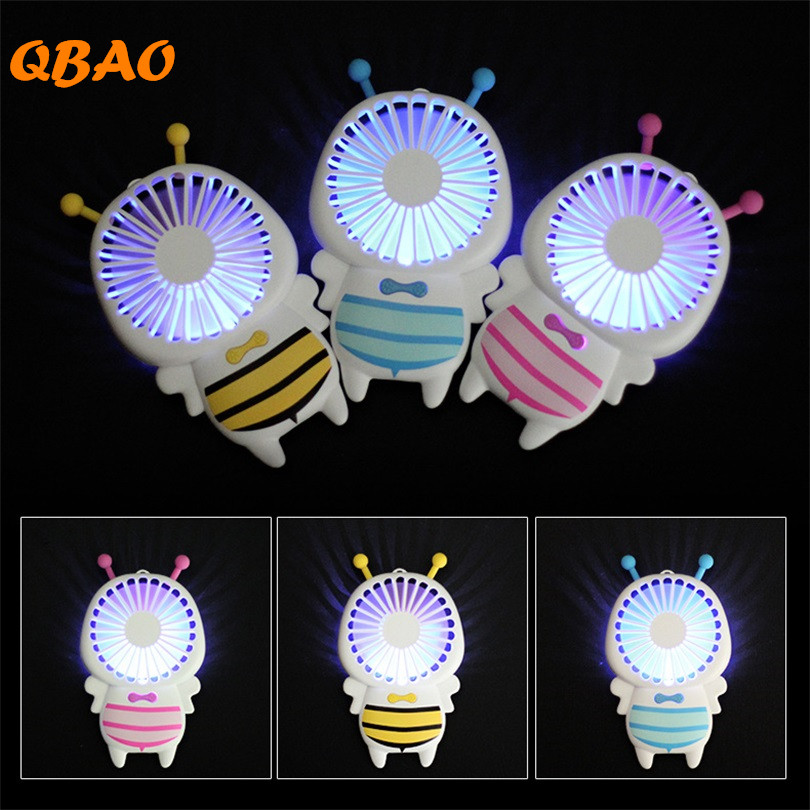 Cute Bee Small Fan Portable 5V Air Cooler 2 Speed Adjustable Battery Inside USB Led Light Mini Rechargeable Handy Ventilator