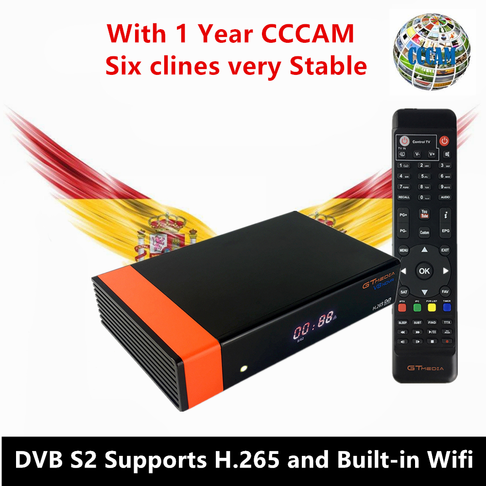 цена на GT Media V8 Nova DVB-S2 Freesat Satellite Receiver H.265 built-in WIFI+1Year Europe Spain CCcam TV Box New version of V8 Super