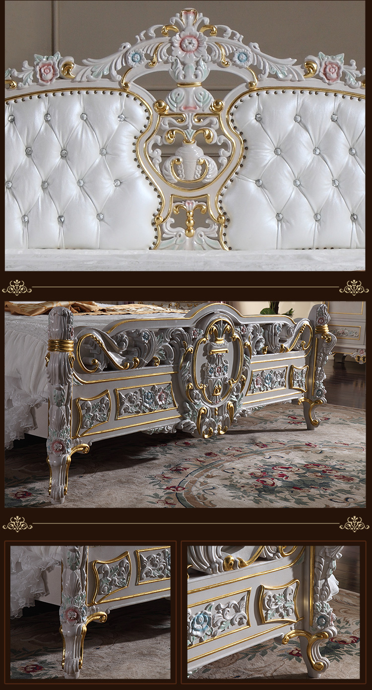 ручной резьбой мебель-рукоделие роялти золотой фольги кровать