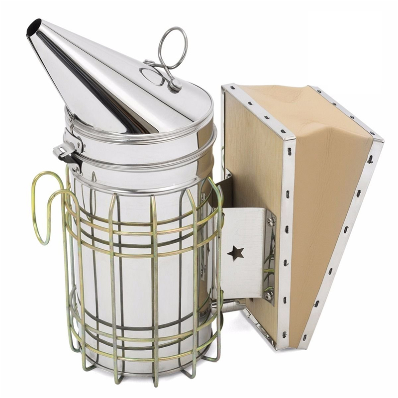 DLKKLB 1 Pc Beekeeping Tool Stainless Steel Bee Hive Smoker Galvanized Iron With Heat Shield Protection Beekeeping Equipment