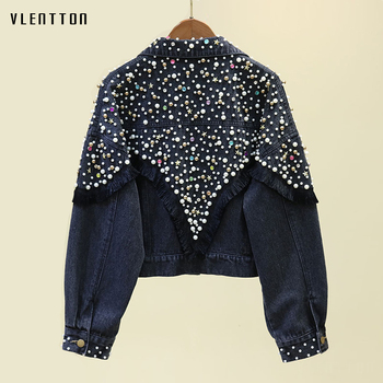 Autumn Beading Tassel Black Denim Jacket Coat Women Casual Loose Cowboy Coats Short Jeans Jackets Outwear Female Chaqueta Mujer 1