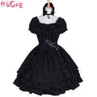 Womens Gothic Black Lolita dresses Layered Lace Up Cotton short sleeve girls Party Halloween