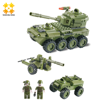 203pcs Military Series Tank Armoured Car 3 In 1 Building Blocks Sets Educational DIY Toys for Children Gift Green