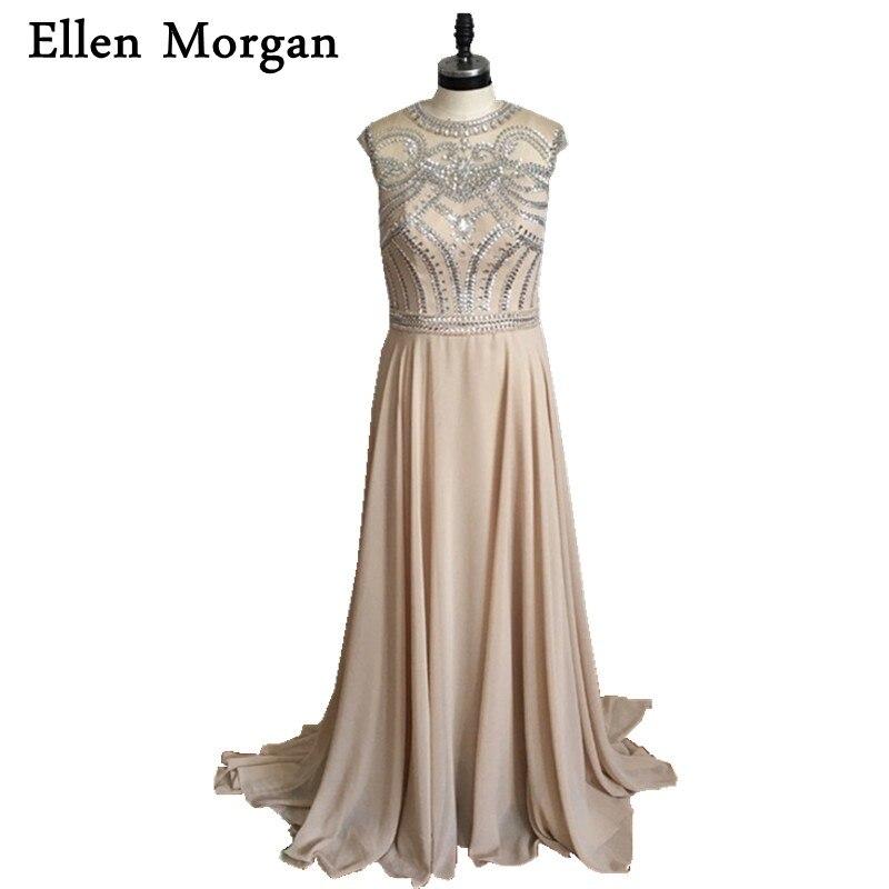 Champagne Chiffon Prom Dresses 2017 Sparkling Vestido Formatura