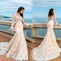 New 2017 Backless Mermaid Princess Wedding Dresses Full Lace Sheer Long Sleeves Sweep Train Bride Gowns Vestidos De Novia