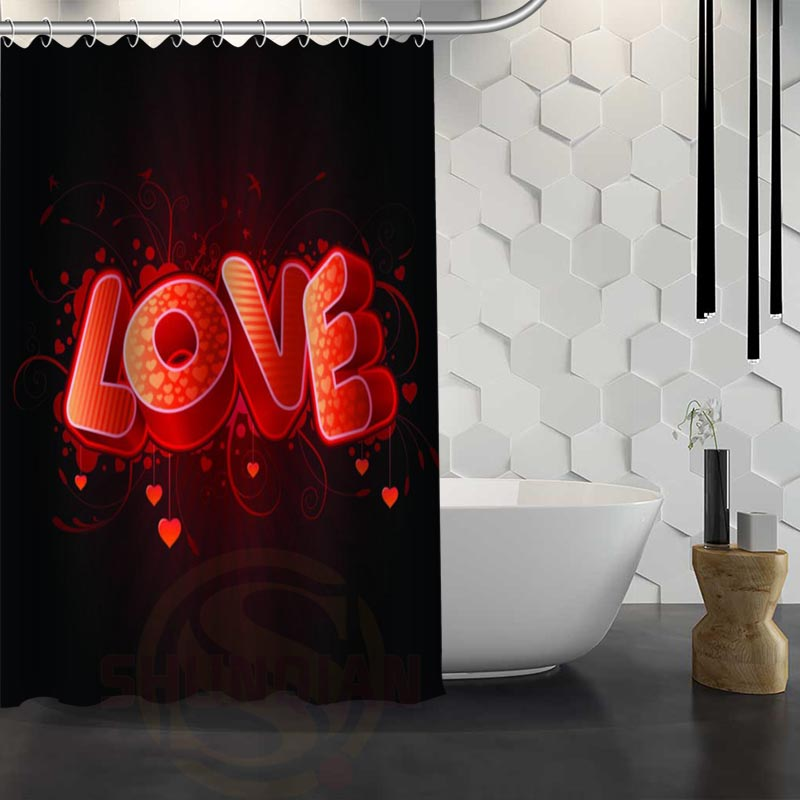 Hot Sale Custom Valentine Day Love Heart Shower Curtain Waterproof Fabric Shower Curtain for Bathroom F#Y1-17
