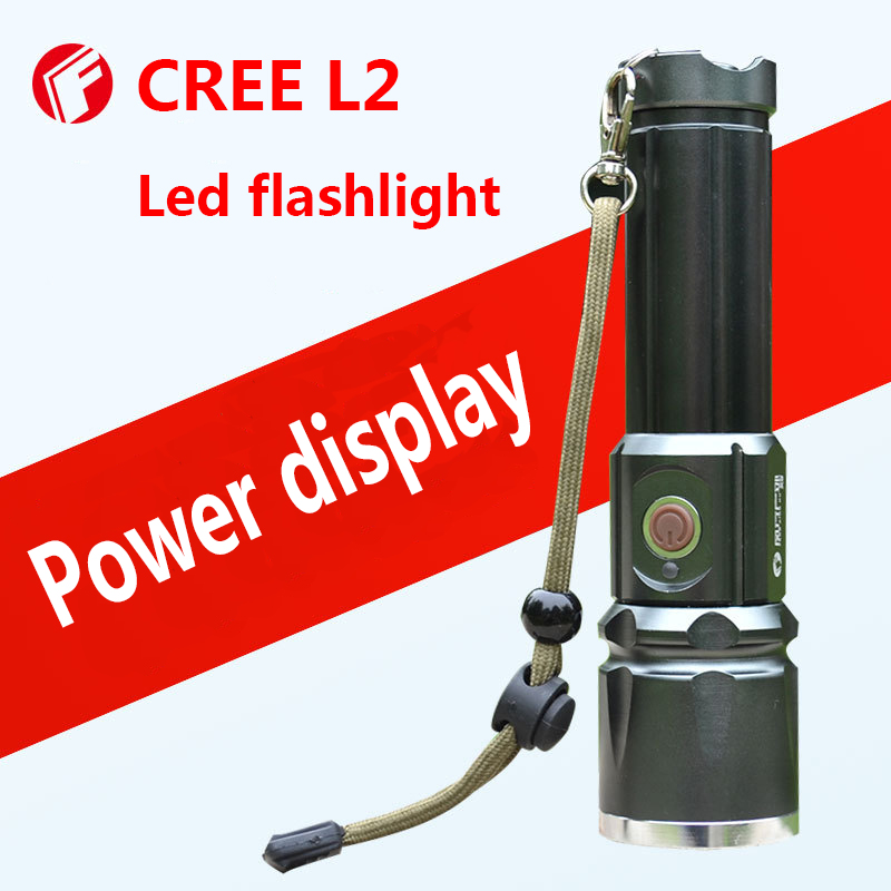 Powerful led flashlight CREE L2 Self defense High light outdoor camping Cycling Night walk Hunting Fishing  linternas led flashlight led cree xm l2 light 3800 lumens 26650 battery outdoor camping telescopic zoom self defense powerful led flashlight