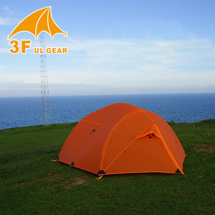 3F Ultra-Léger double couche 15D tissu enduit de silicone 3 personne utiliser haute qualité camping tente avec fond tapis