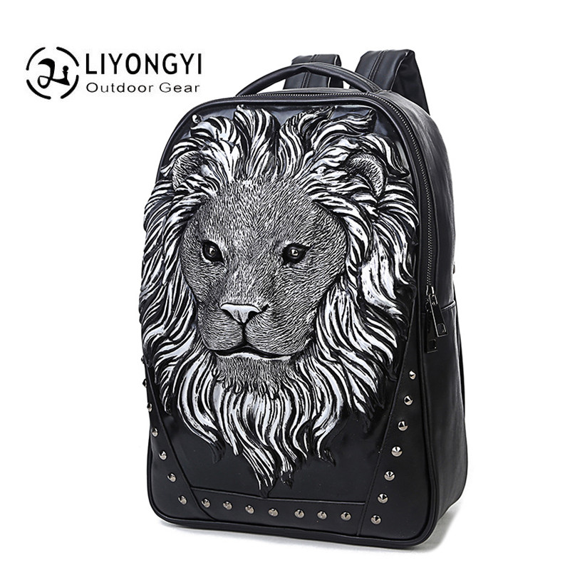 3D New Women And Men Backpack Newest Stylish Cool Black PU Leather Lion King Male Backpack Female shoulder bag Travel schoolbags new fashion women backpack newest