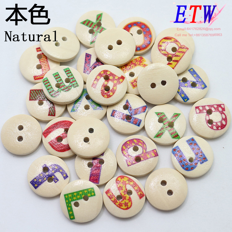 Free shipping wood Buttons 100pcs/lot 18mm 15mm DIY baby button painted letter design Natural environmental protection material