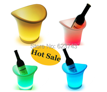Free Shipping 2PCS/Lot 2.7L color changing led ice bucket furniture,led beer bucket coolers for bars,party, LED beer wine cask